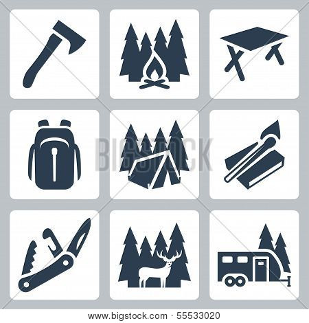 Vektor-Icons Set camping