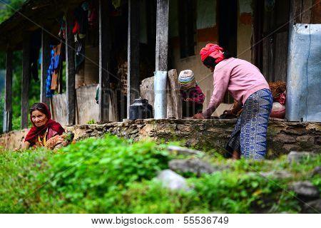Gurung woman in the Himalayas, Nepal