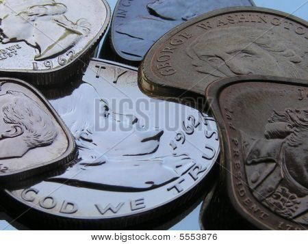 View Of Old And Newer Coins In A Flexible State