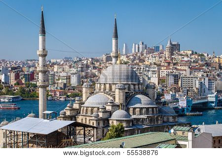 ISTANBUL, TURKEY - JULY 29: Yeni Cami, The New Mosque in Istanbul on July 29, 2013.The construction of the mosque first began in 1597 and finished in 1663.