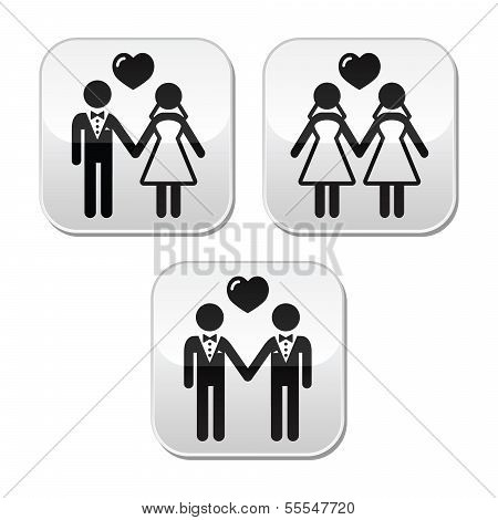 Wedding married hetero and gay couple buttons