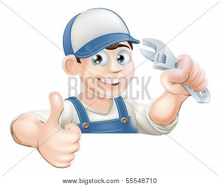 Wrench Man Over Banner Thumbs Up