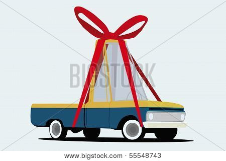 funny cartoon pickup truck wraped as a gift