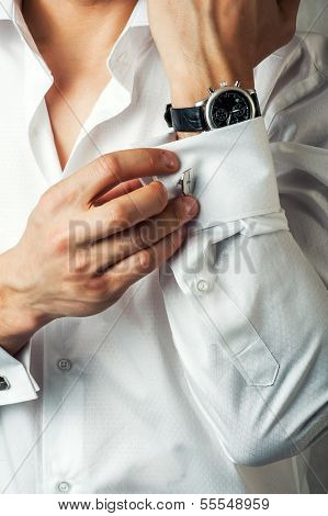 Sexy Man Buttons Cuff-link On French Cuffs