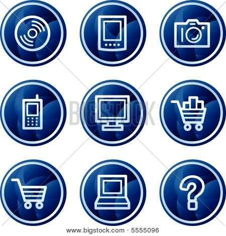 Electronics web icons, blue circle buttons series