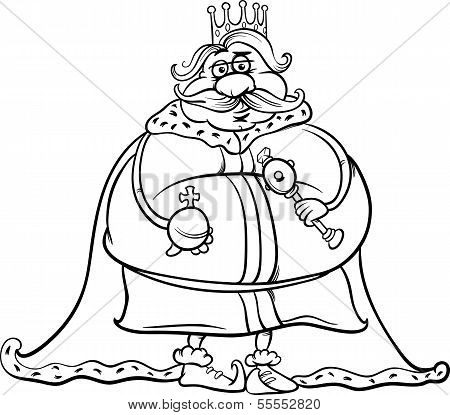 Fat King Cartoon Coloring Page