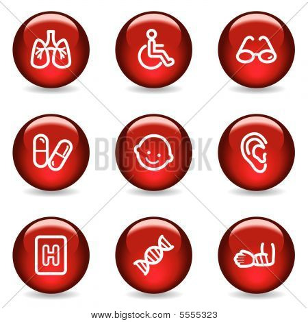 Medicine web icons set 2, red glossy series