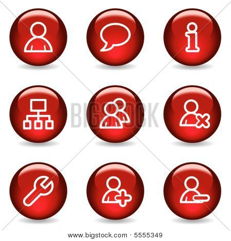 Users web icons, red glossy series