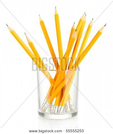 Pencils in glass isolated on white