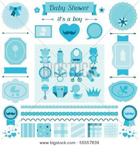 Boy baby shower set of elements for design.