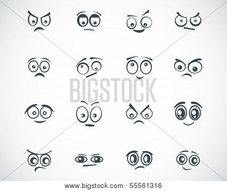 Vector black  cartoon  eyes  set