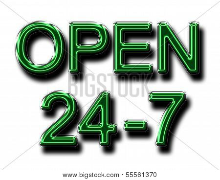A Glowing Open 24-7 Sign In Green