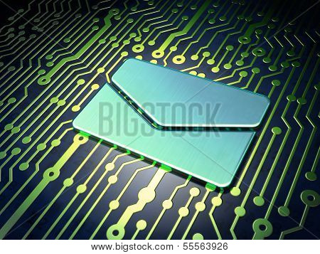 Finance concept: Email on circuit board background