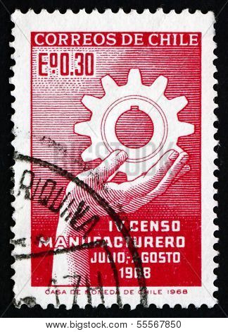 Postage Stamp Chile 1968 Hand Holding Cogwheel