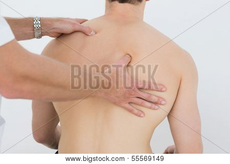 Rear view of a shirtless man being massaged by a physiotherapist over white background