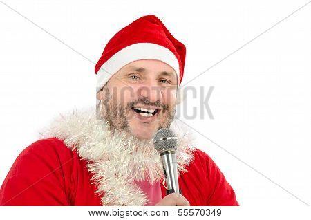 Happy Man In Santa Suit Costume Singing
