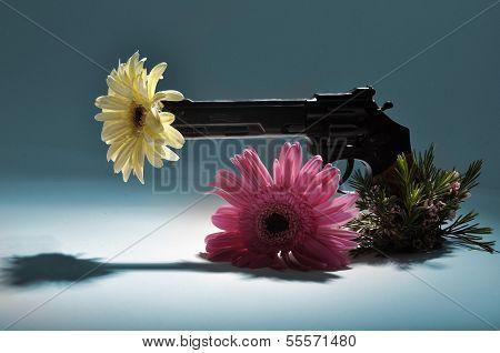 Pistol firing flowers