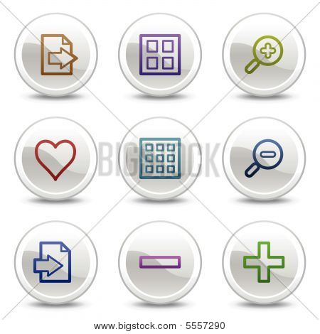 Image viewer web colour icons, white circle buttons series