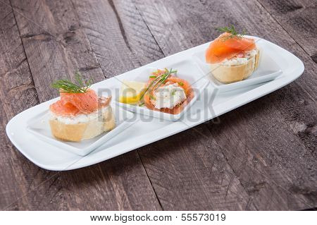 Salmon Starters On Small Plates