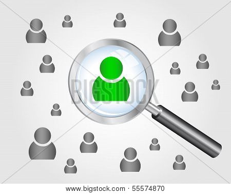 Job search concept. magnifying glass searching people.