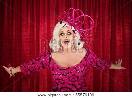 Blond Drag Queen Singing