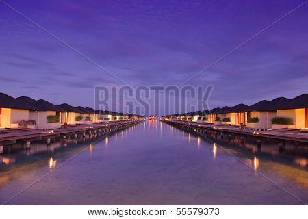 tropical water home villas resort  on Maldives island at summer vacation