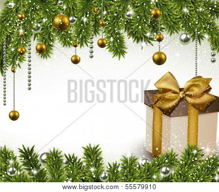 Christmas background with fir twigs, golden balls and gif box. Vector gift boxes.