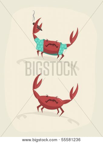 Vector illustration of funny cartoon crab with cigar