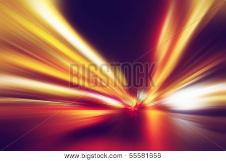 Abstract image of speed motion on the road at night time