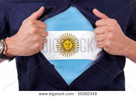 Young Sport Fan Opening His Shirt And Showing The Flag His Country Argentina, Argentinian Flag