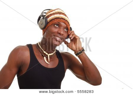 Smiling Man With Big Headphones