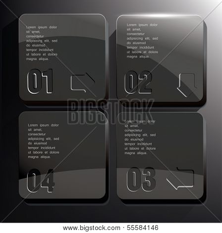 Back Square blocks with numbers. Can be used for infographics