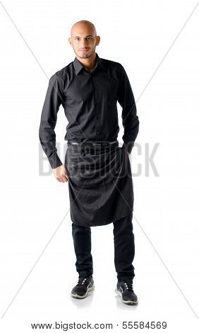 Handsome Young Restaurant Or Bar Waiter, Standing On White