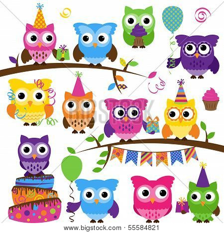 Vector Collection of Party or Celebration Themed Owls poster