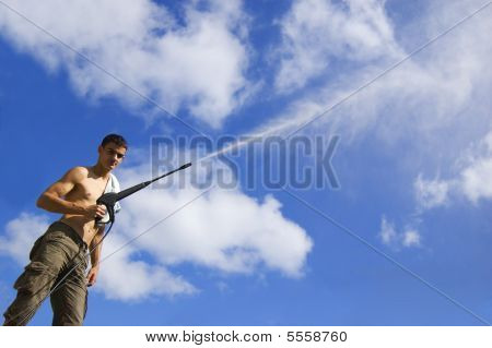 Man With Water Hose