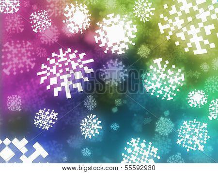 Pixel Snowflakes Background Retro Style Illustration