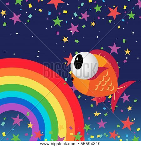 Fish in the night sky with rainbow and stars