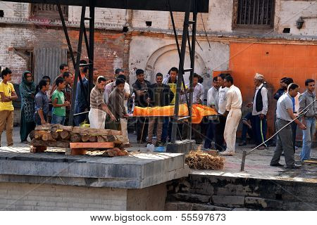 Human Cremation Ceremony In Pashupatinath, Nepal