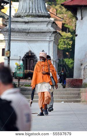 Sadhu Man At The Holy Hindu Temple Of Pashupatinath. Nepal
