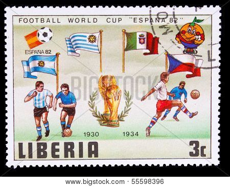 LIBERIA - CIRCA 1982: A post stamp printed LIBERIA, Argentina, I