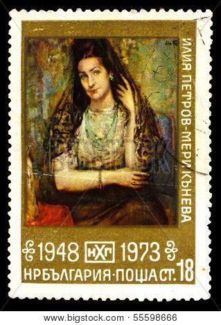 Bulgarien ca. 1973: eine Briefmarke, gedruckt in Bulgarien, zeigt Künstler
