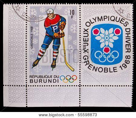 BURUNDI - CIRCA 1968: A post stamp printed BURUNDI, 10 Olympic W