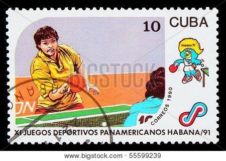 CUBA - CIRCA 1991: A post stamp printed CUBA, 1991 Pan American