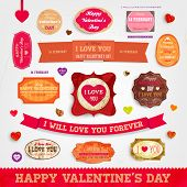 Happy Valentines Day Cards Set for Vintage Holiday Labels Design. Retro Paper Textures. Vector Illus