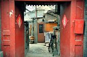 BEIJING, CHINA - APR 4: Old doorway in street on April 4, 2013 in Beijing, China. Beijing is the sec