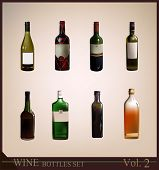 stock photo of budge  - background with realistic bottles of wine - JPG