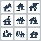 pic of fire insurance  - Vector property insurance icons set over white - JPG