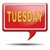 stock photo of tuesday  - Tuesday week next or following day schedule concept for appointment or event in agenda - JPG