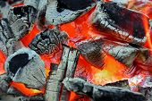 pic of briquette  - Glowing Charcoal And Flame In Bbq Grill - JPG
