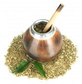 picture of calabash  - Calabash and bombilla with yerba mate isolated on white - JPG